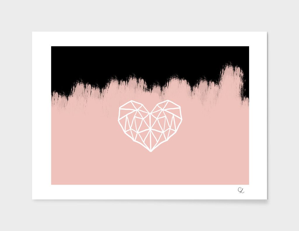 Geometric heart on pink