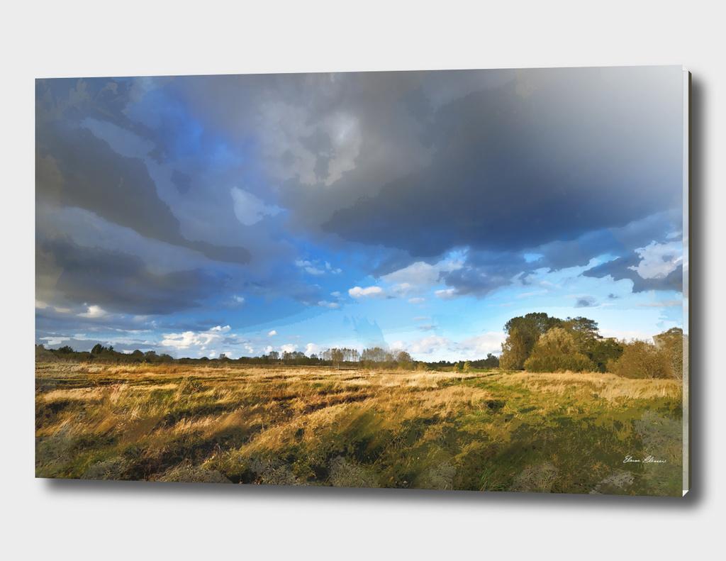 Empty Fields under Threatening Skies