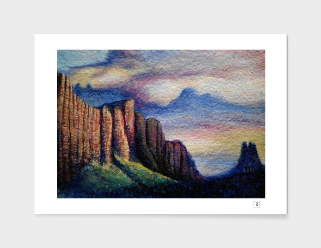 Mount Arapiles and Mitre Rock (after Nicholas Chevalier)