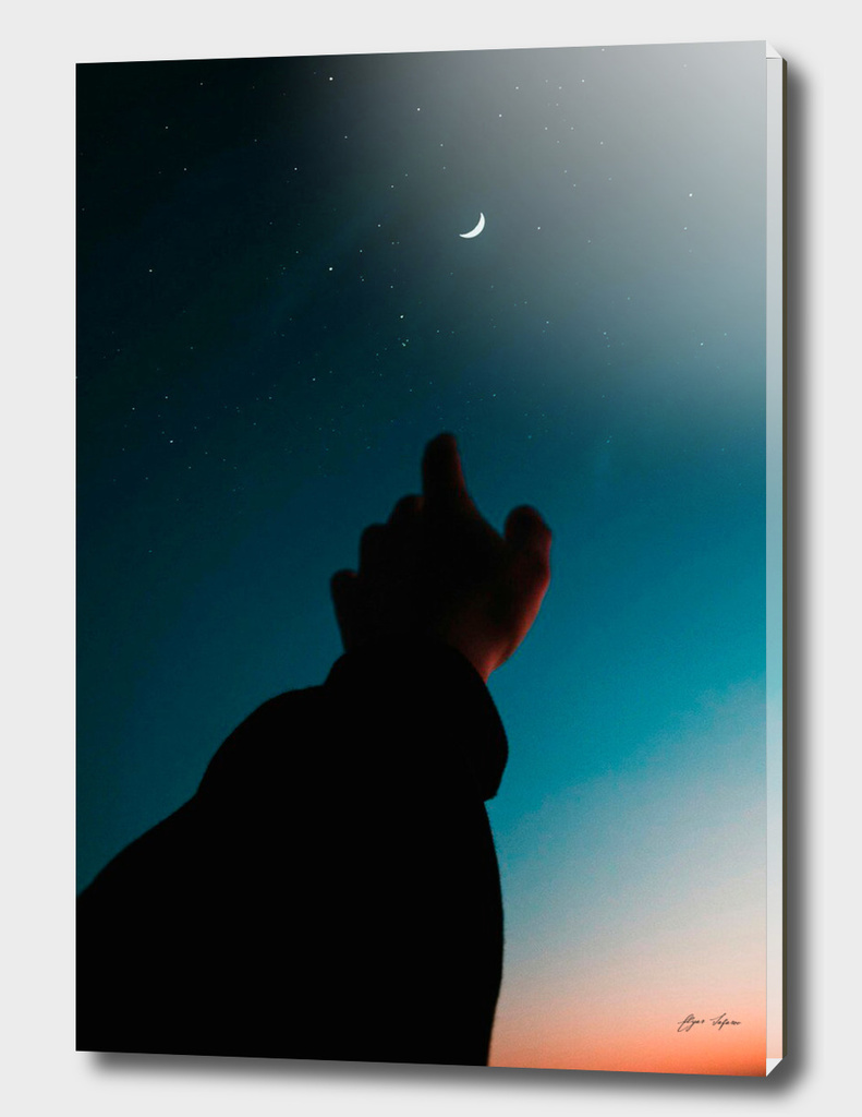 Finger point to moon