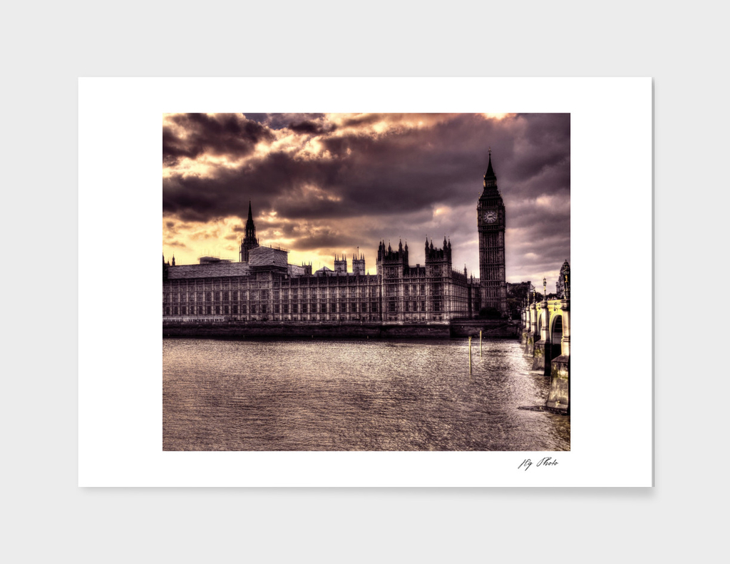 Dark purple london Parliament Building