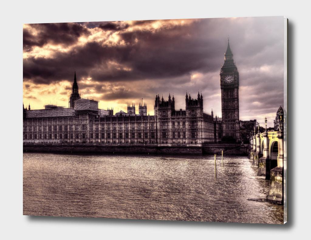 Dark purple london Parliament Building