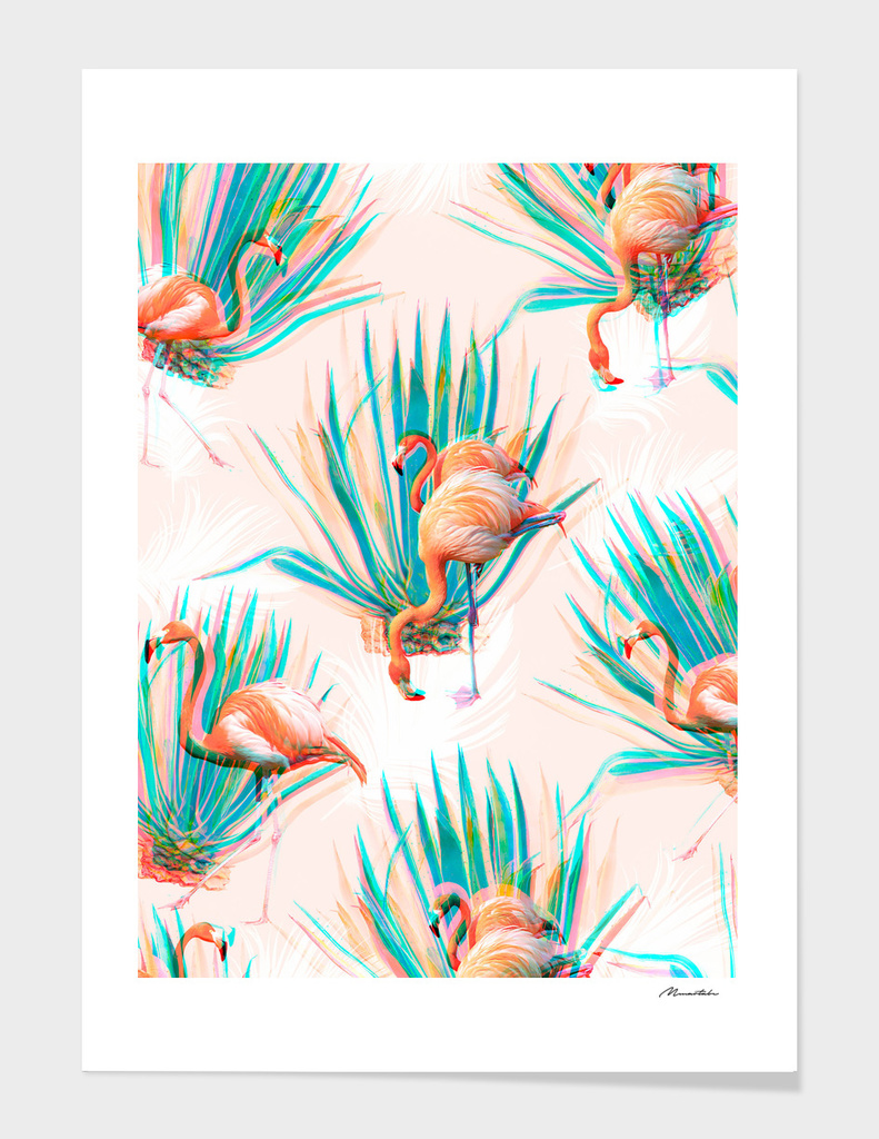 Anaglyph Flamingos with cactus