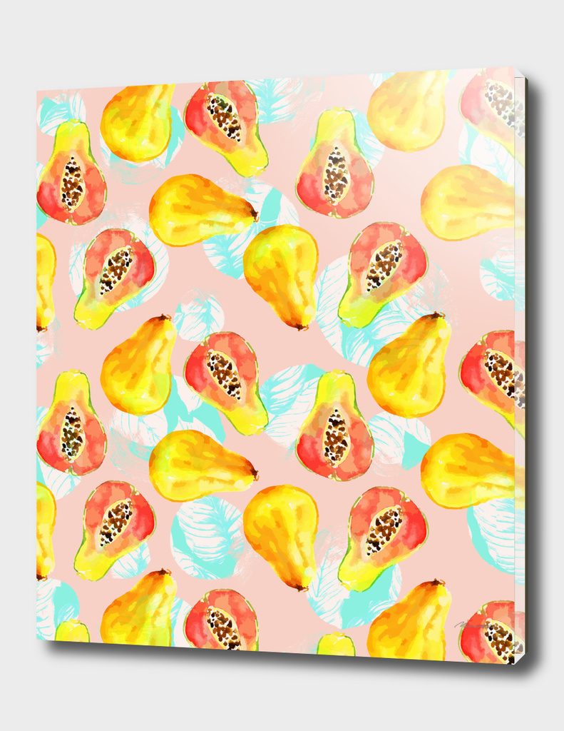 Watercolor pattern of papayas