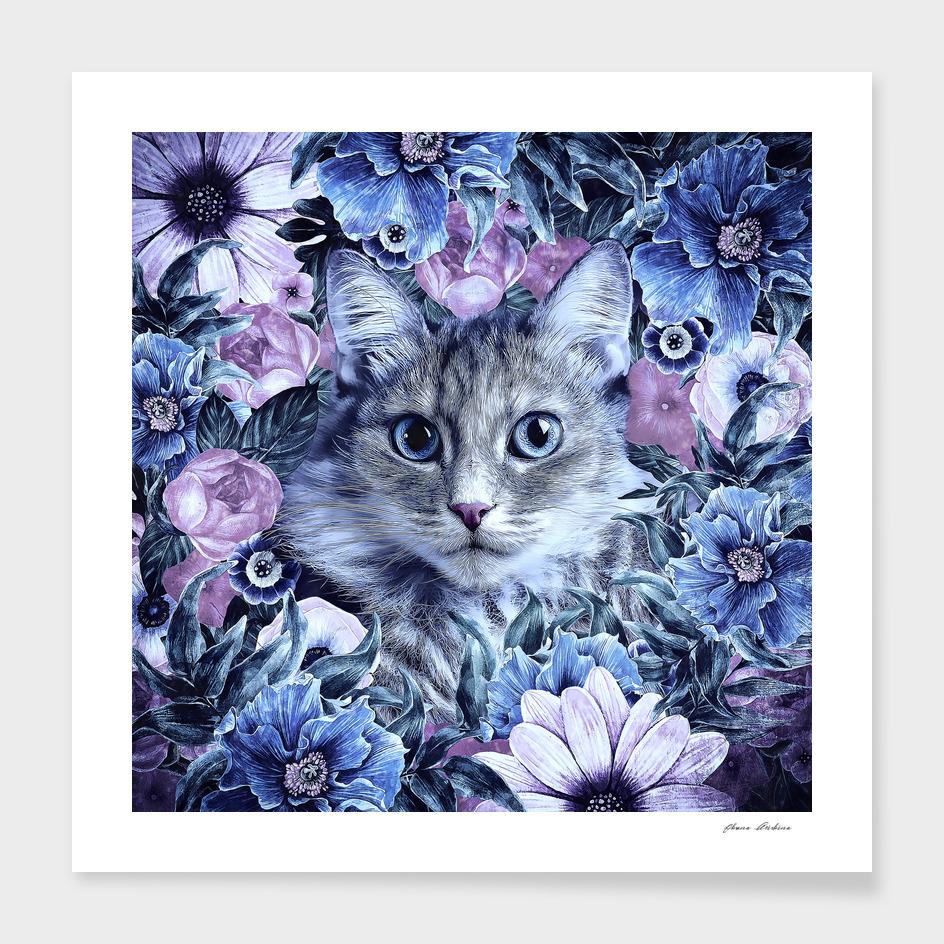 Cat In Flowers. Winter