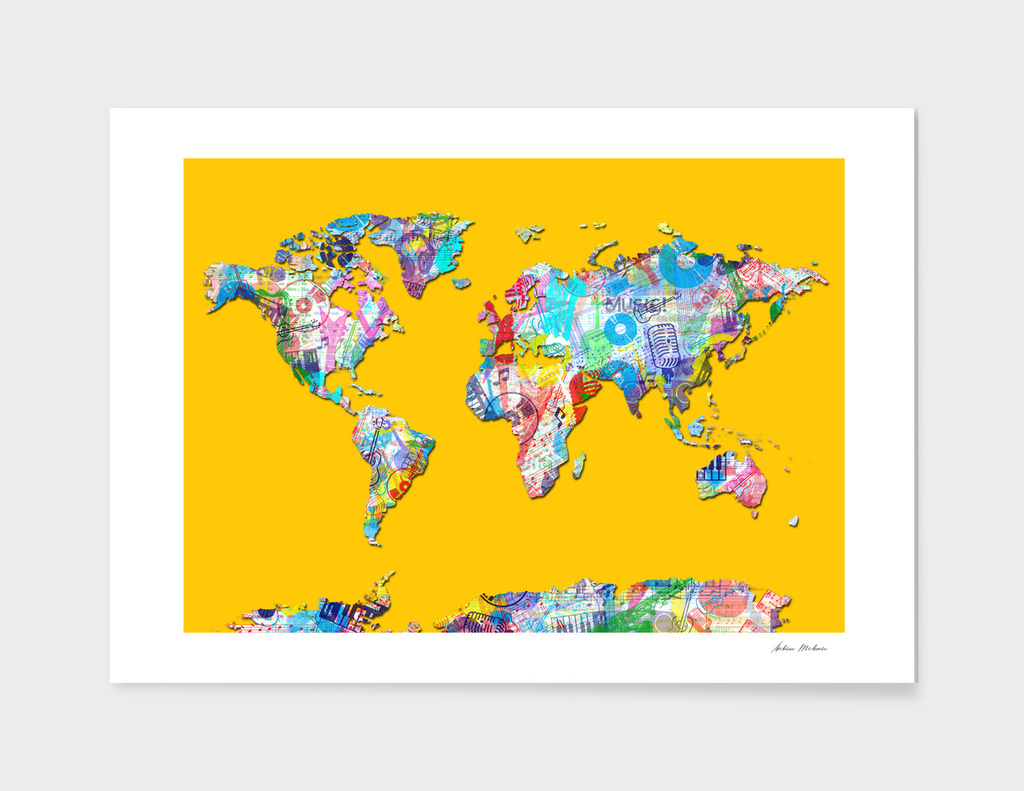 world map music collage