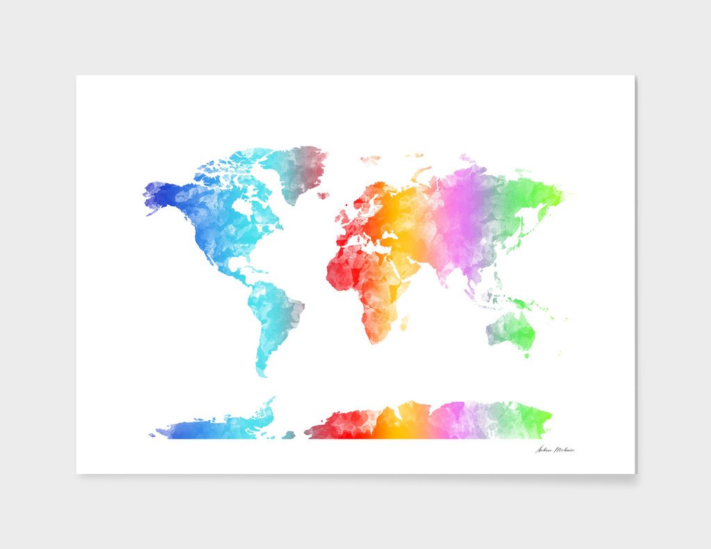 World map watercolor 3
