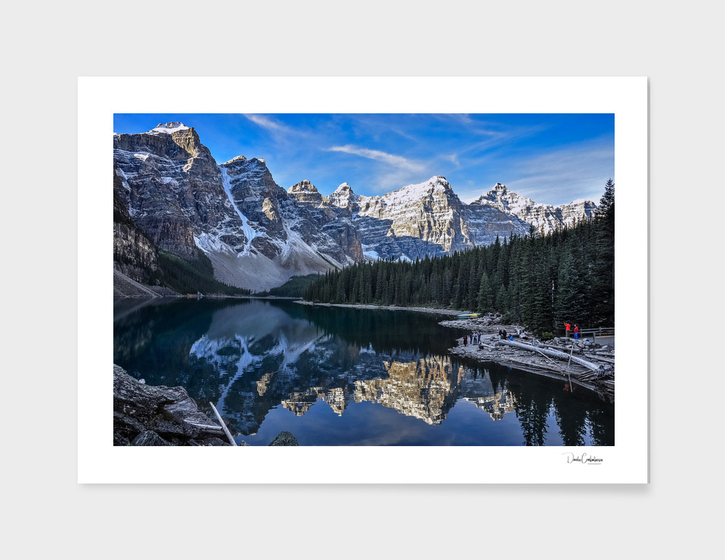 Reflections in the morning at lake Moraine
