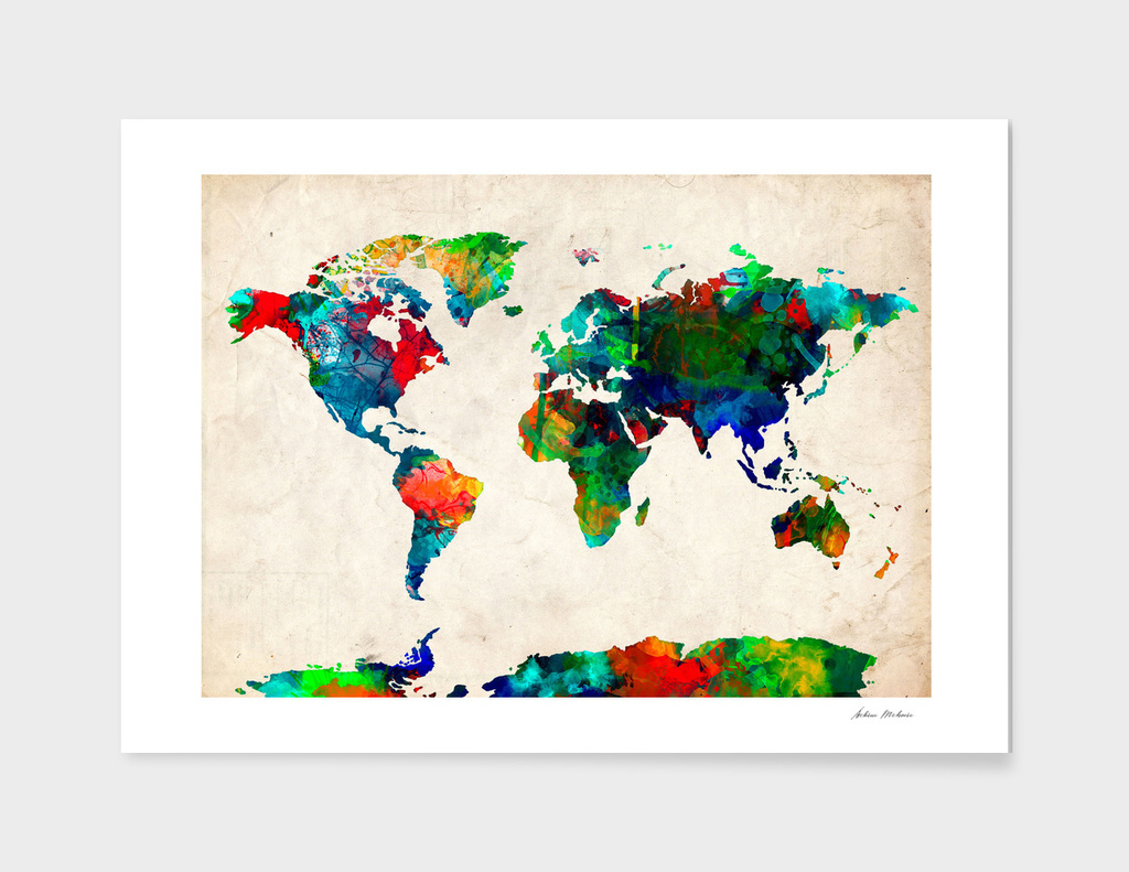World map watercolor 7