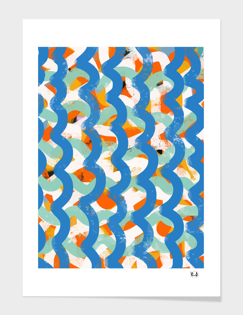 Blue Abstract Zen Pattern Decoration