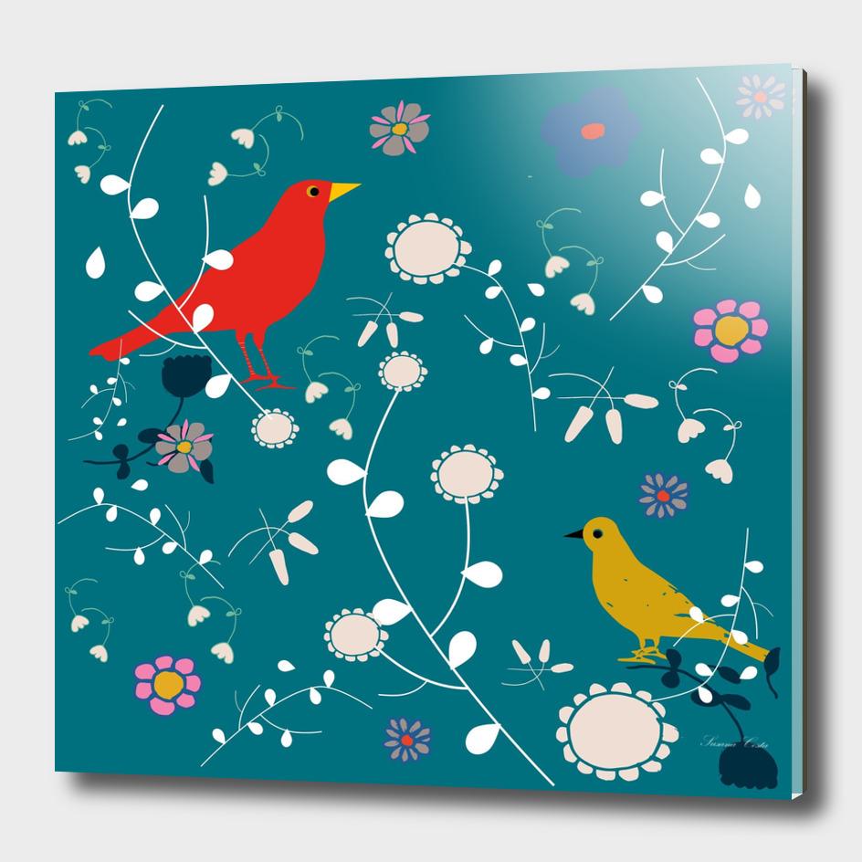 Bird blooms teal