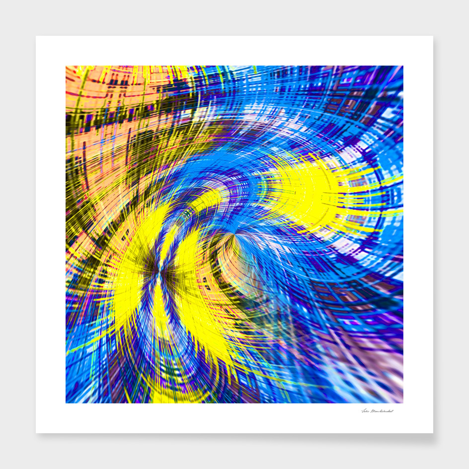 geometric psychedelic splash abstract pattern in blue yellow