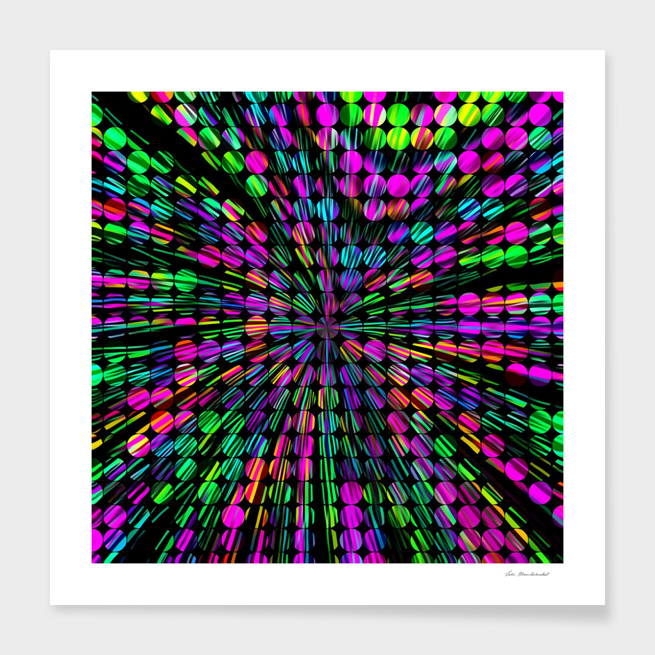 geometric circle abstract pattern in pink blue green black