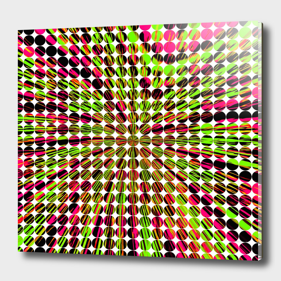 geometric circle abstract pattern in green and pink