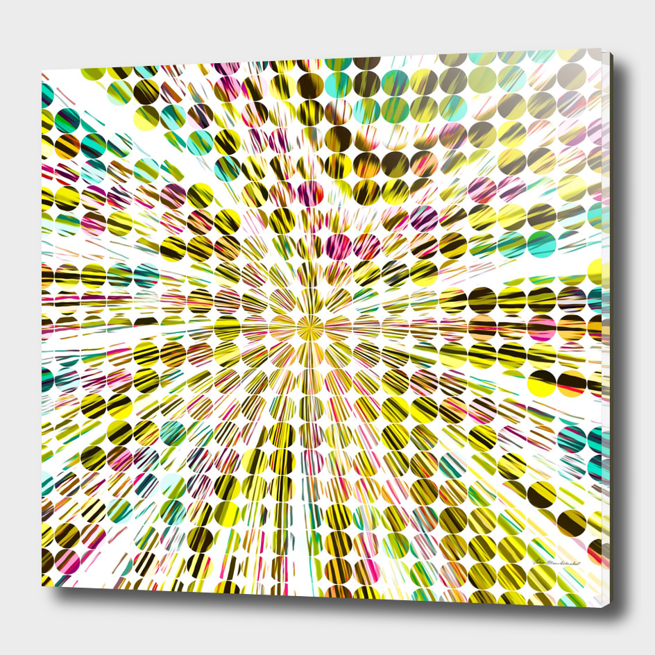 geometric circle abstract pattern in yellow pink blue