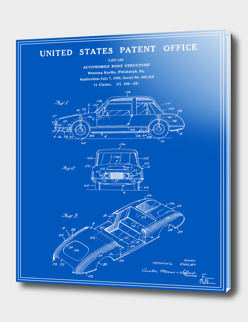 Automobile Body Patent - Blueprint
