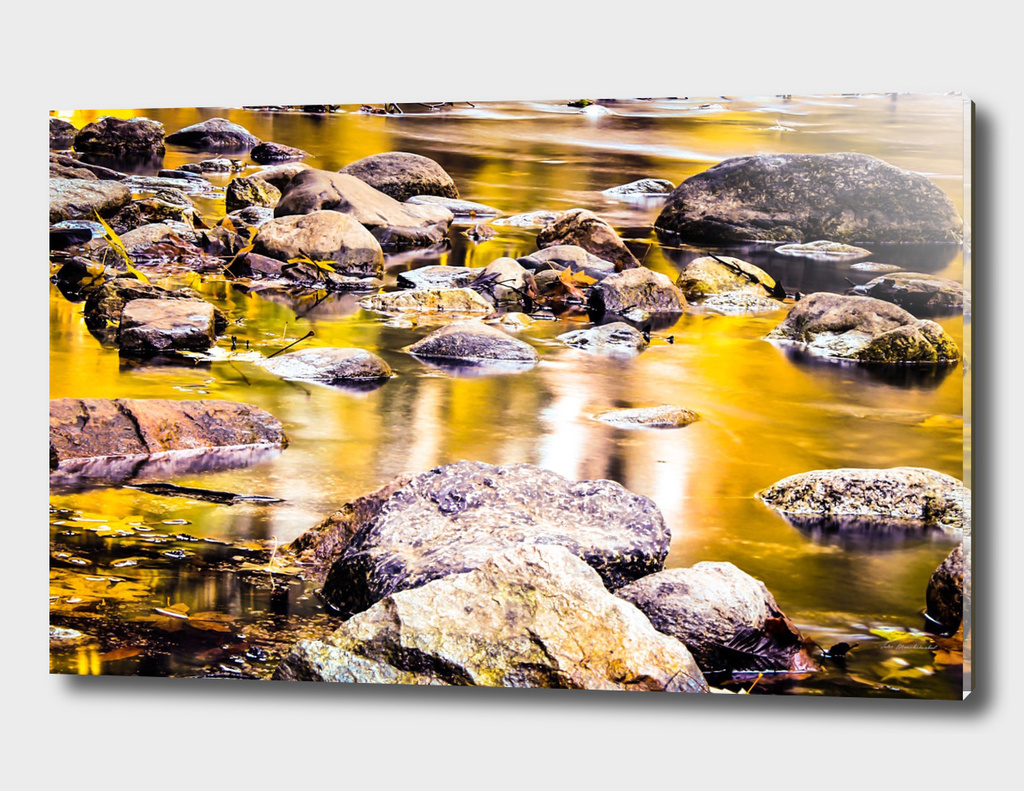 rock and stone in the river with the summer sunset light