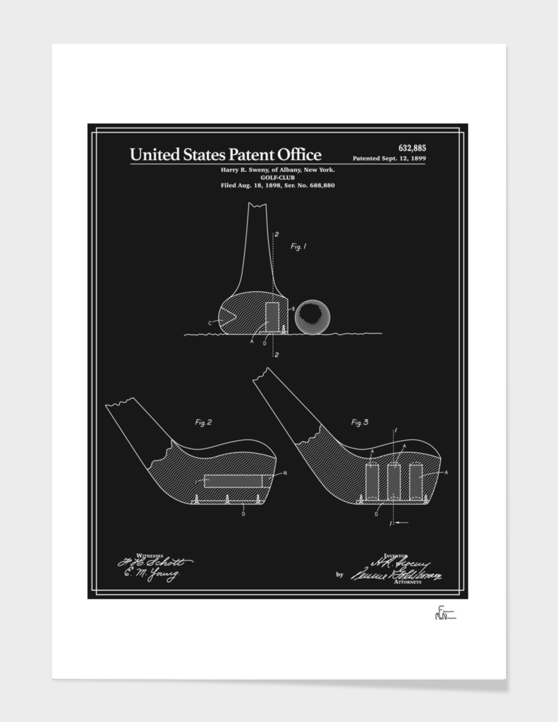 Golf Club Patent - Black