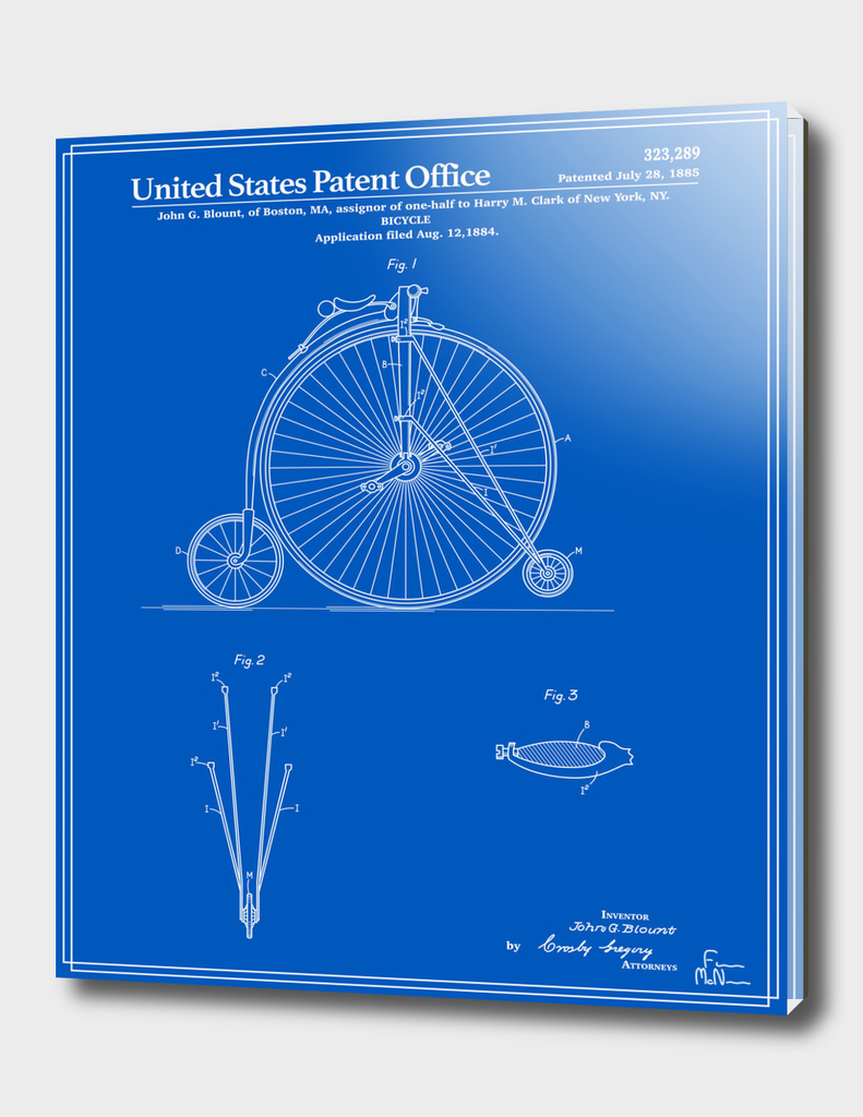 High Wheel Bicycle Patent - Blueprint