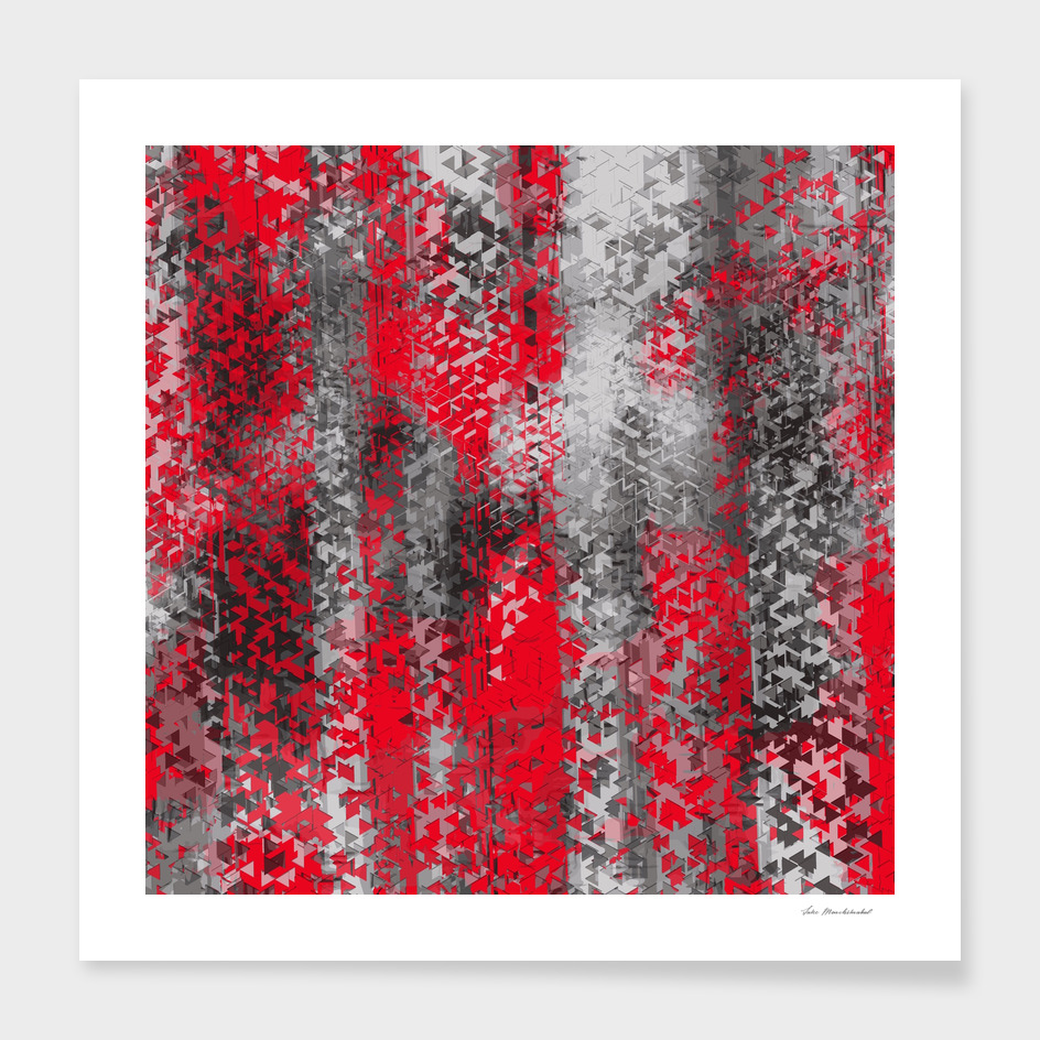 psychedelic geometric polygon abstract in black and red