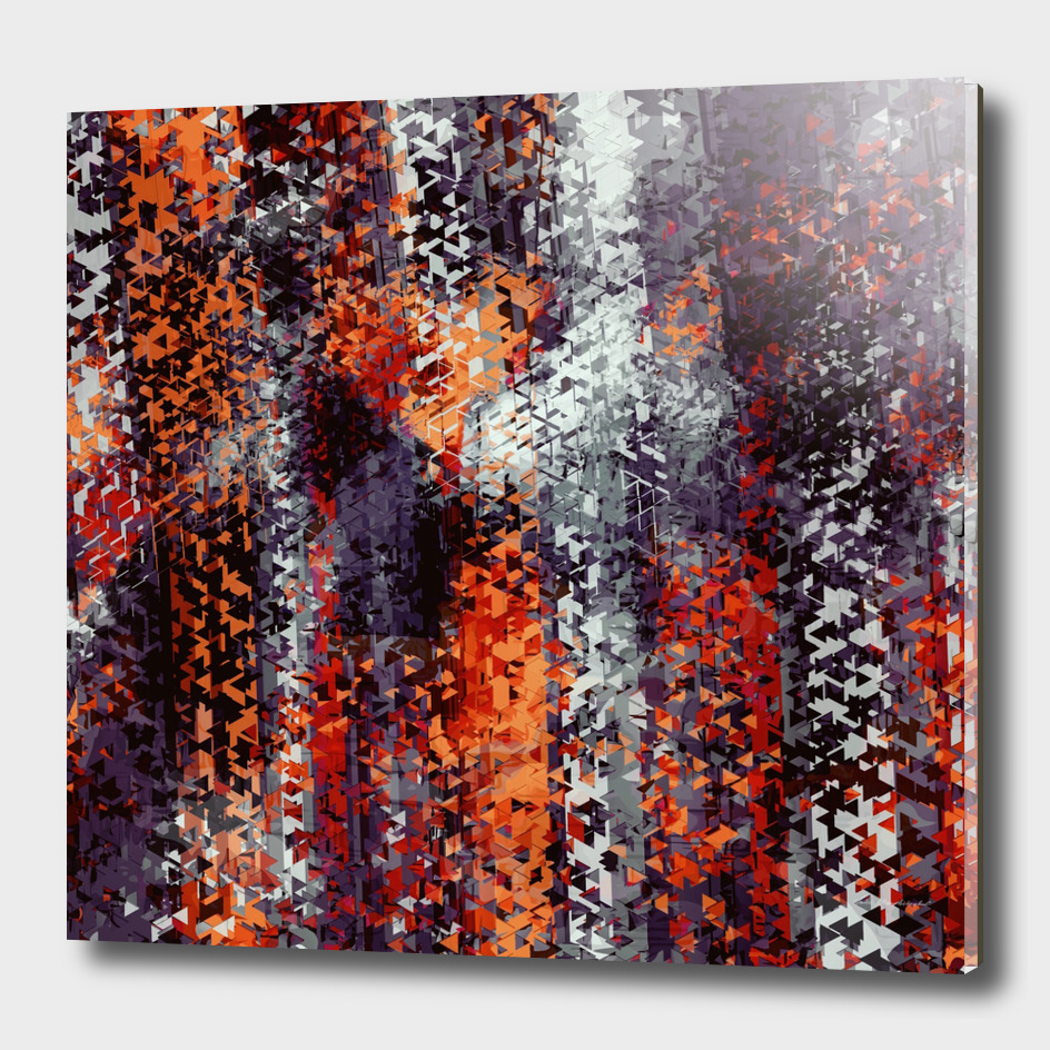 psychedelic geometric polygon abstract in black orange red