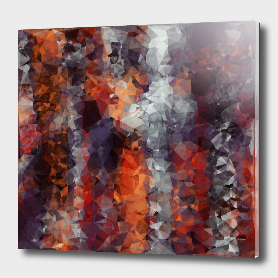 psychedelic geometric polygon abstract in orange black red