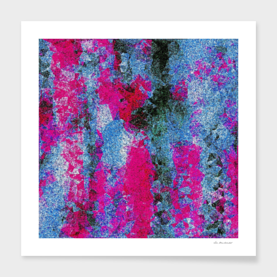 vintage psychedelic painting abstract in pink and blue