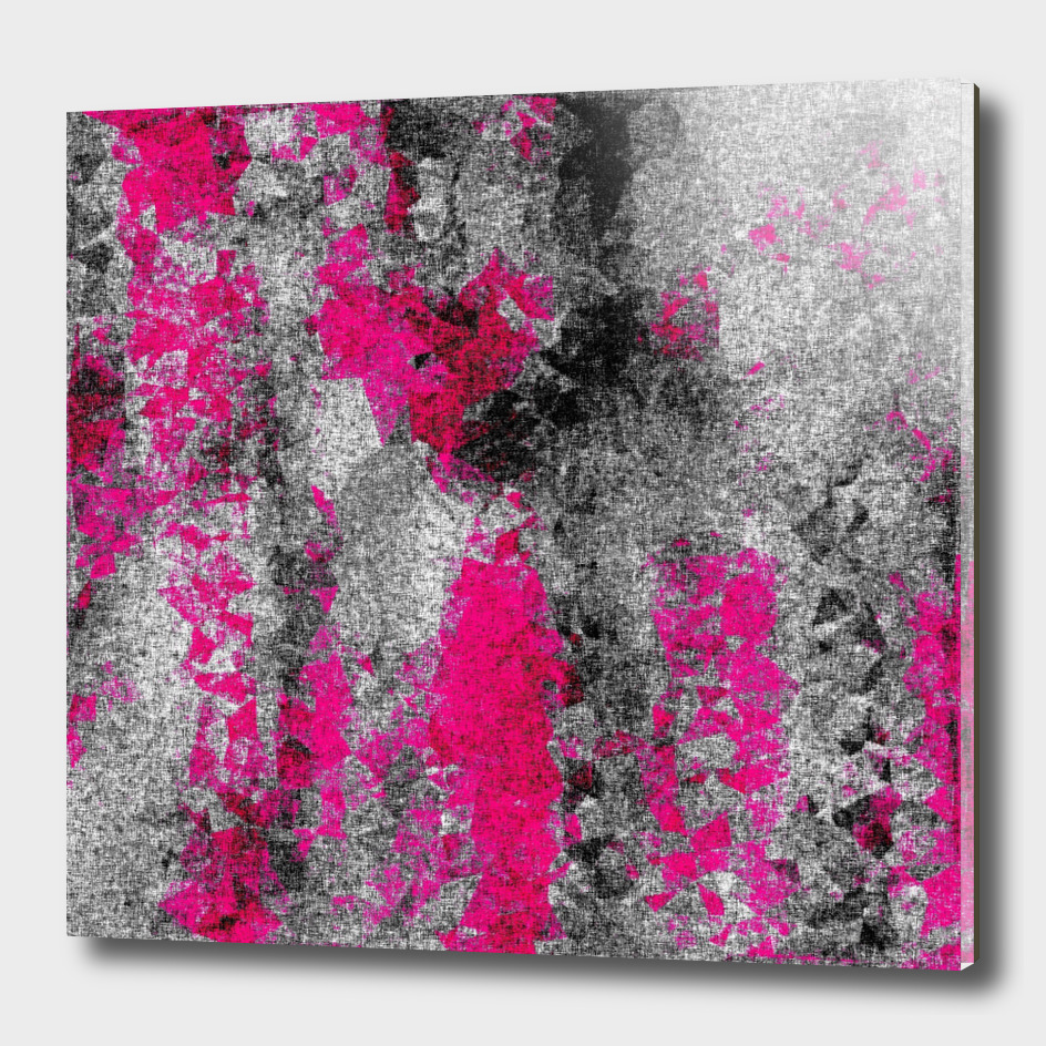 vintage psychedelic painting abstract in pink and black