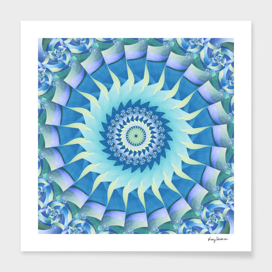 Turquoise Blade Fractal Kaleidoscope Mandala