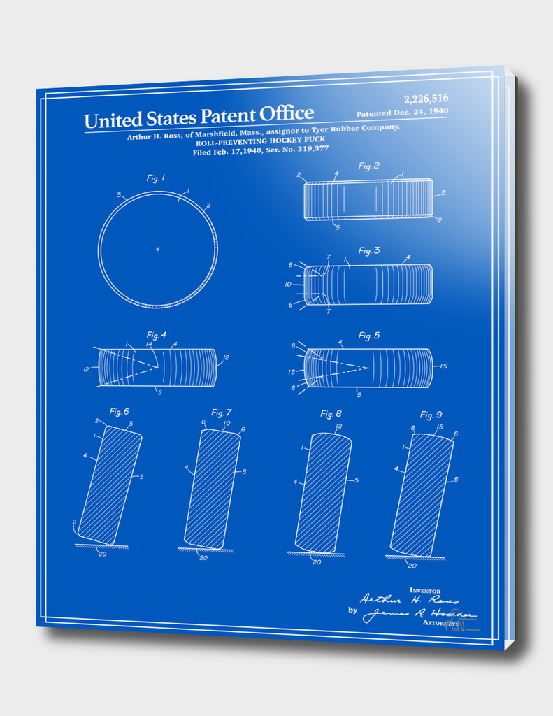 Hockey Puck Patent - Blueprint