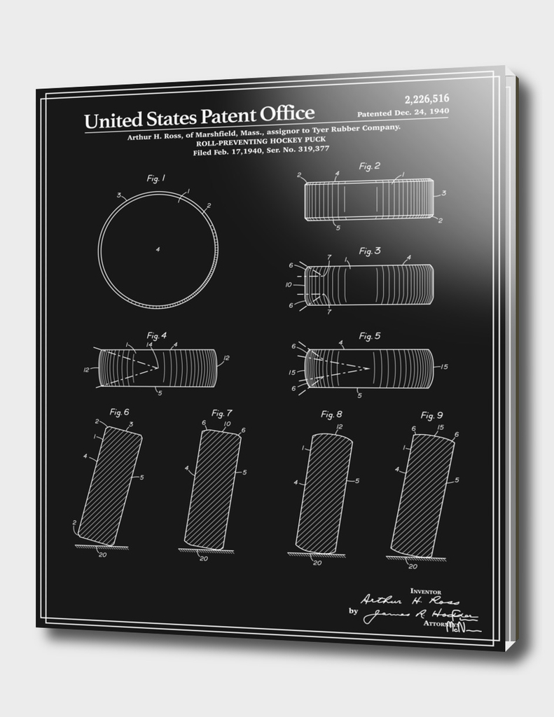 Hockey Puck Patent - Black