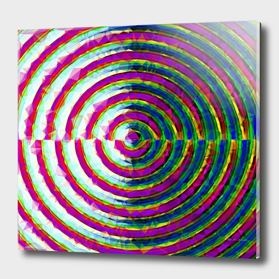 psychedelic geometric polygon pattern circle with pink blue