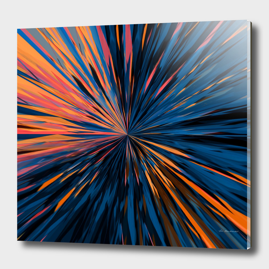 psychedelic splash painting abstract pattern in orange blue
