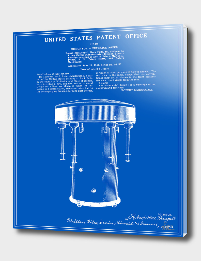 Milkshake Machine Patent - Blueprint