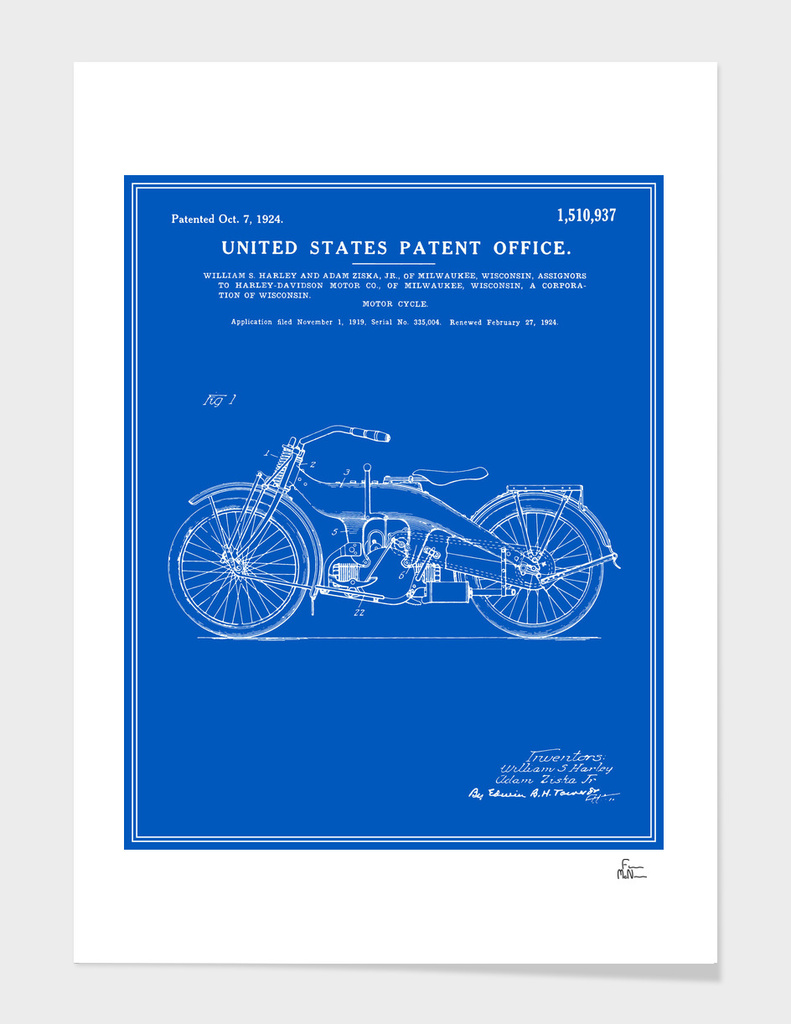 Motorcycle Patent - Blueprint