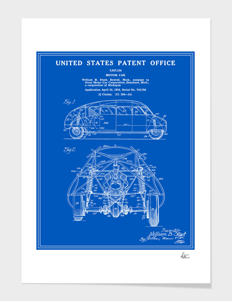 Motor Car Patent - Blueprint