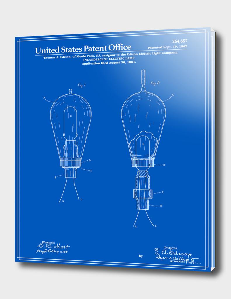 Thomas Edison Light Bulb Patent - Blueprint