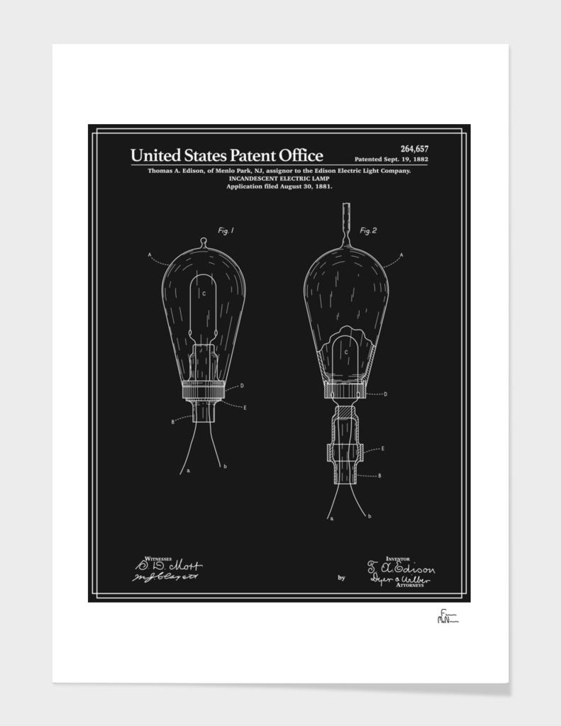 Thomas Edison Light Bulb Patent - Black