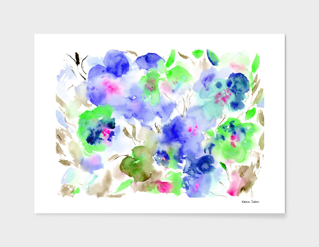 Bloom in blue || watercolor