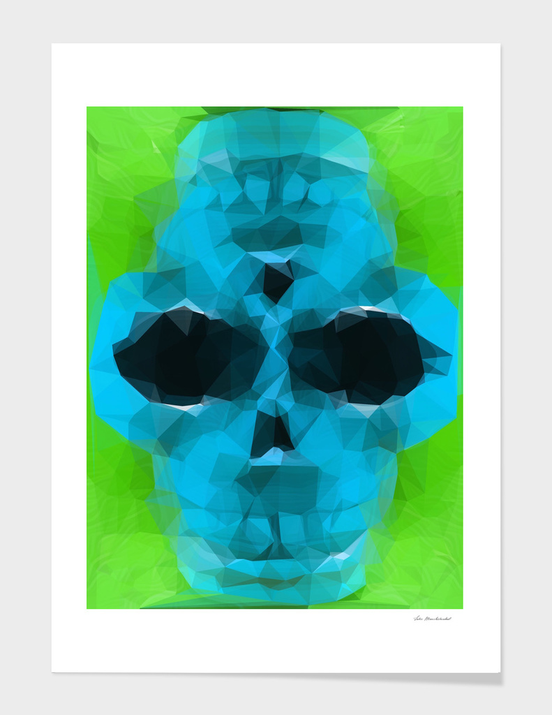 psychedelic skull geometric pattern in blue and green