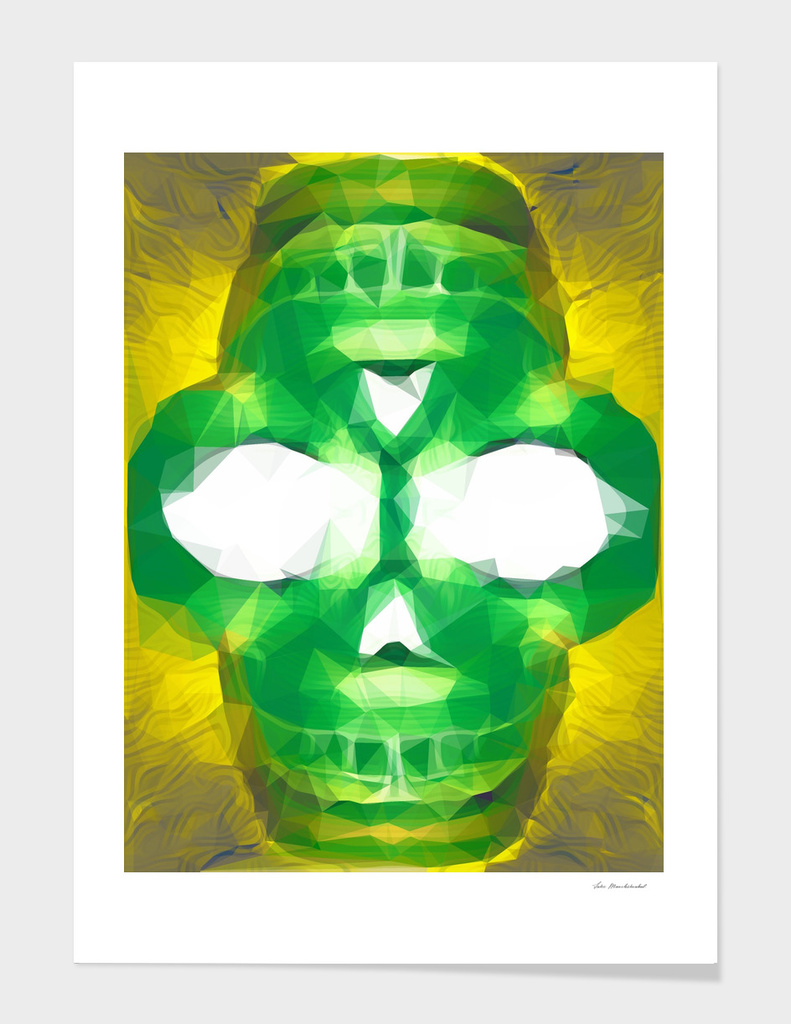 psychedelic skull geometric triangle pattern in green yellow