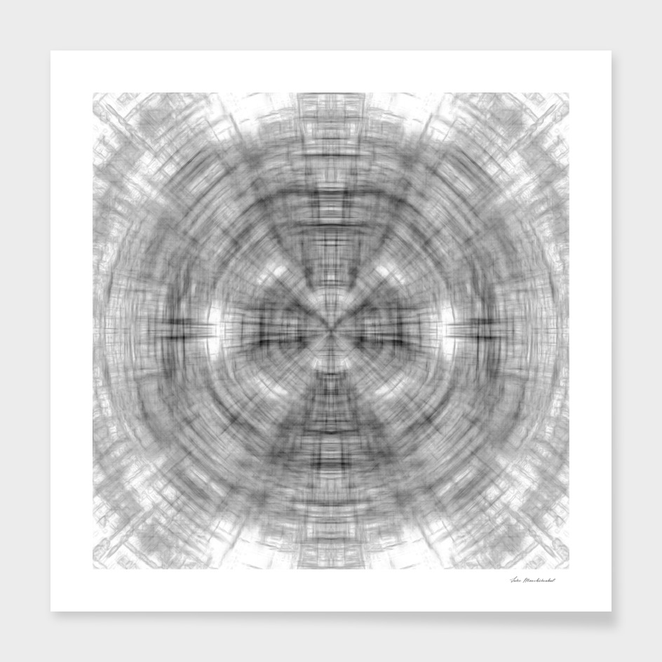 psychedelic drawing symmetry abstract in black and white