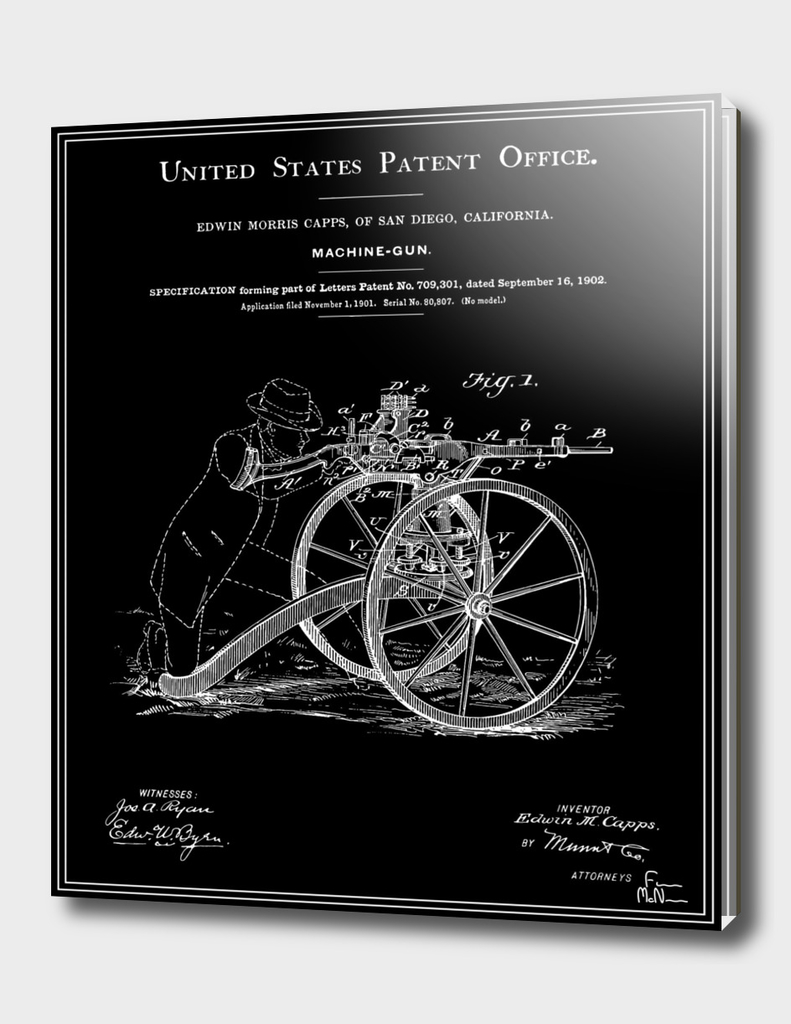Machine Gun Patent - Black