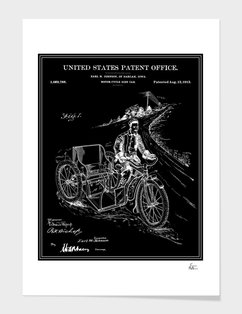 Motorcycle Sidecar Patent - Black