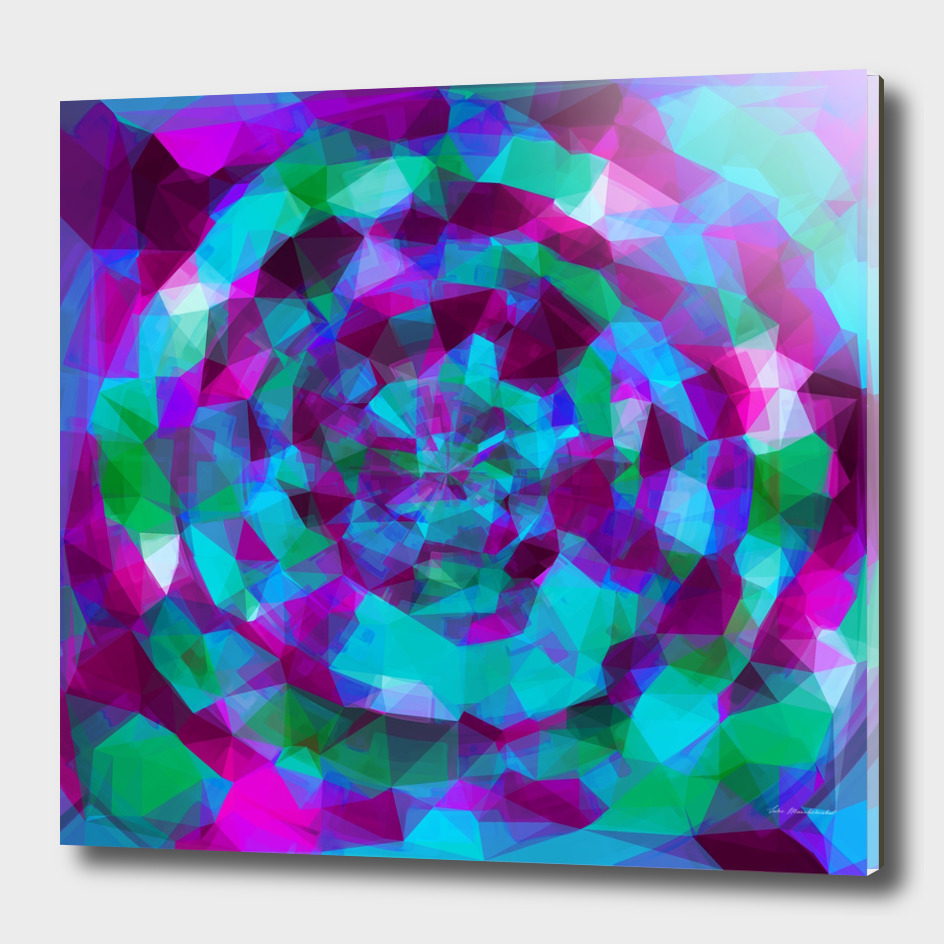 psychedelic geometric polygon abstract in pink purple blue