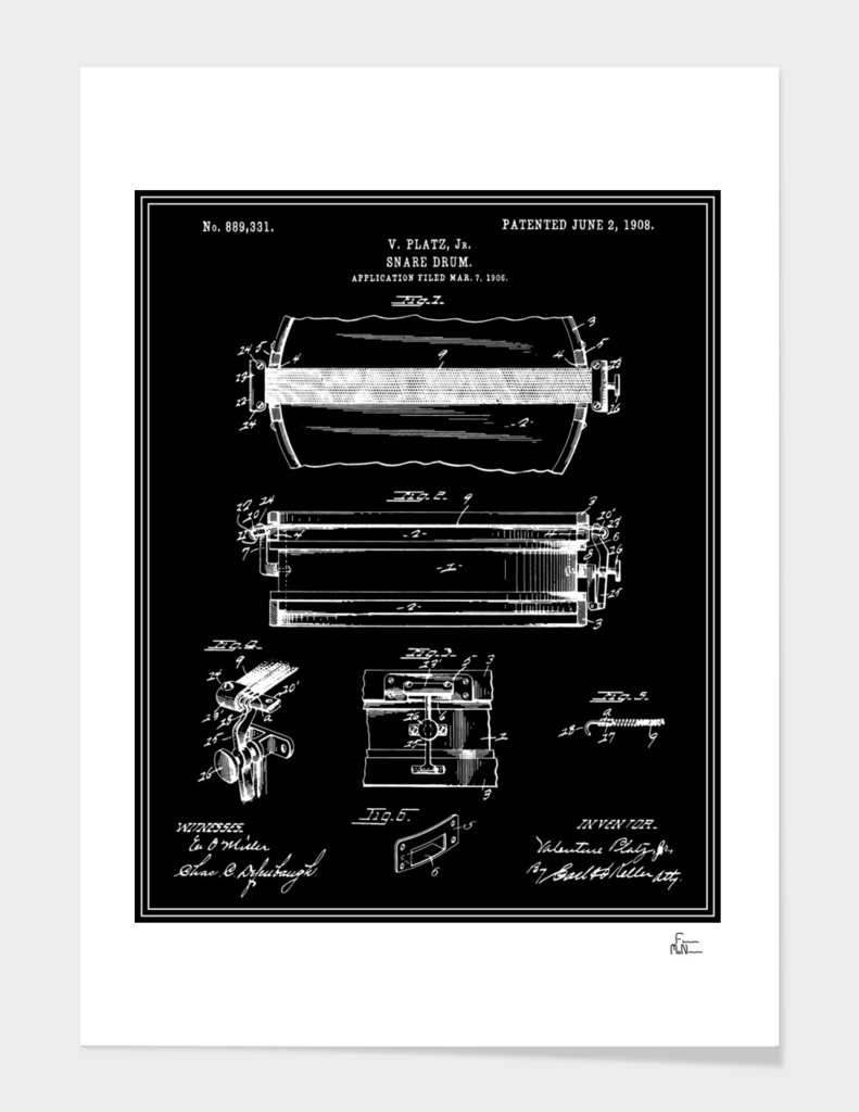 Snare Drum Patent - Black