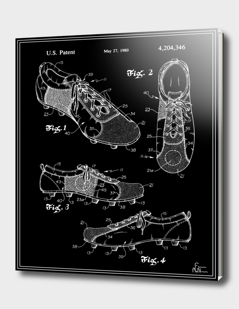 Soccer Cleats Patent - Black
