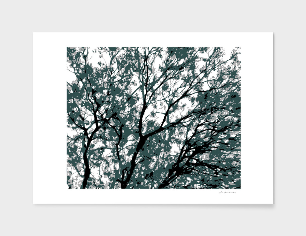 tree branch with green leaves abstract background
