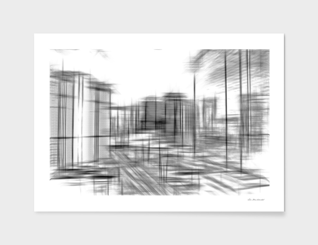 pencil drawing buildings in the city in black and white