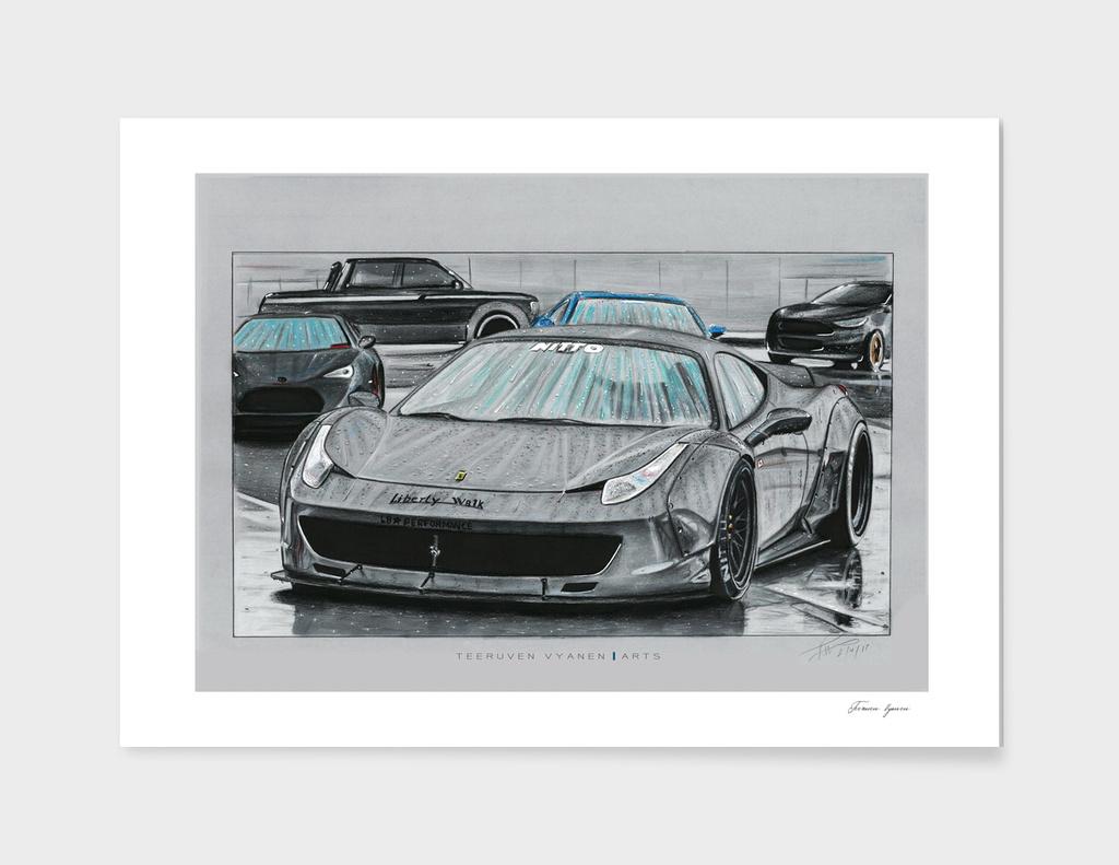 Ferrari 458 italia liberty walk in rain